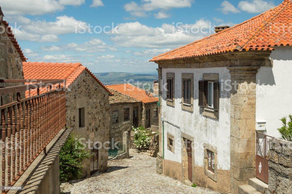 Village of Linhares da Beira, Portugal. Streetview stock photo