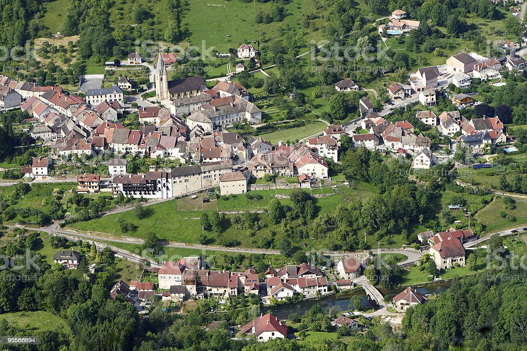 Village of Lods in France stock photo