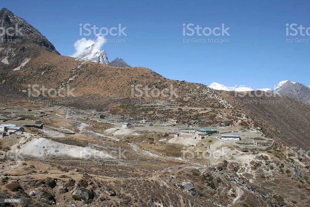 Village of Luza - Himalayas stock photo