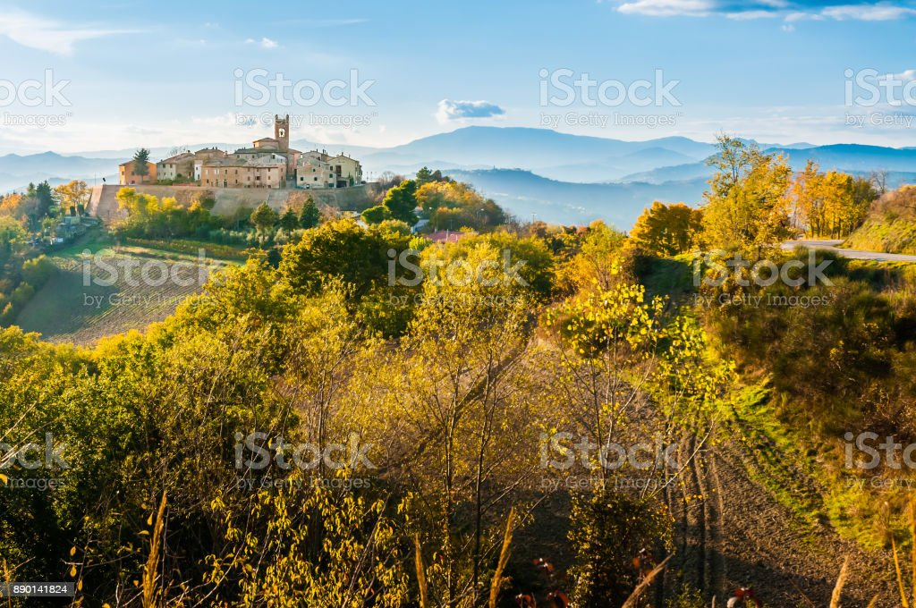 Village of Montefabbri in Italy The little village of Montefabbri on a hill of the Italian Marche region Agricultural Field Stock Photo