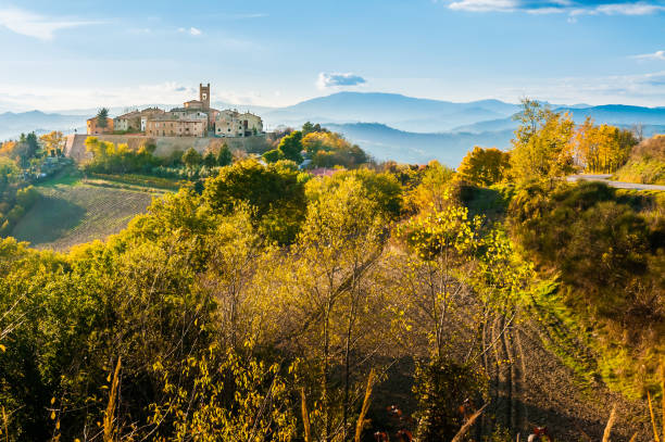 Village of Montefabbri in Italy stock photo