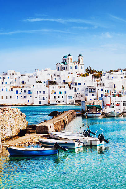 Village of Naousa, Paros island, Greece Picturesque Naousa village, Paros island, Greece mediterranean sea stock pictures, royalty-free photos & images