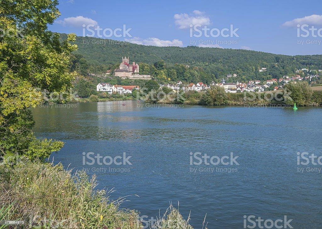 Village of Neckarsteinach,Neckar River,Germany stock photo