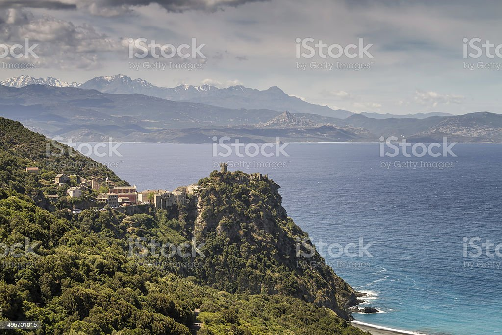 Village of Nonza on Cap Corse in Corsica stock photo