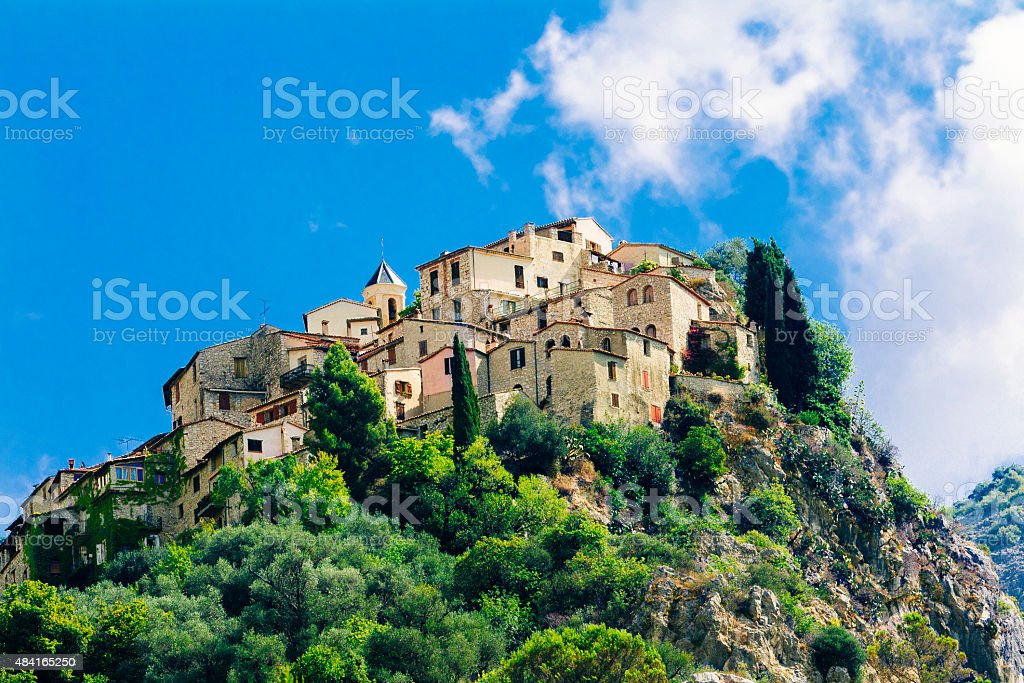 Village of Peillon in Provence, France stock photo