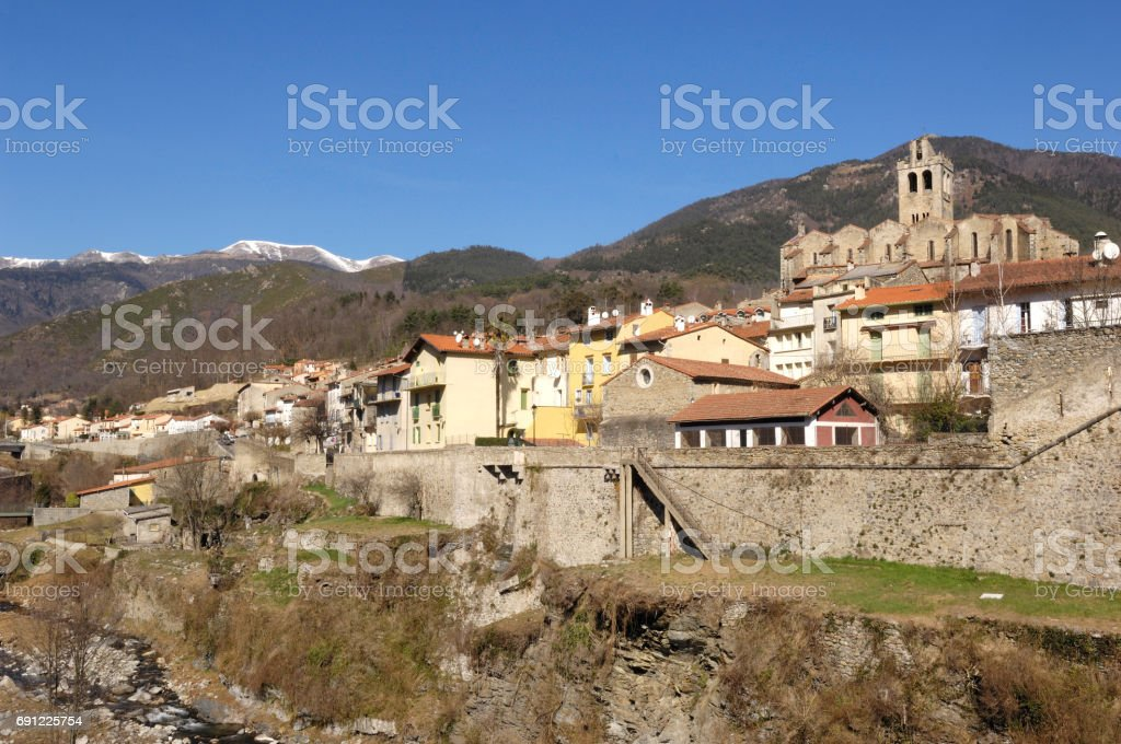 Village of Prats de Mollo -La Preste, Vallespir, Languedoc Roussillon, Pyrenees Orintales, France stock photo