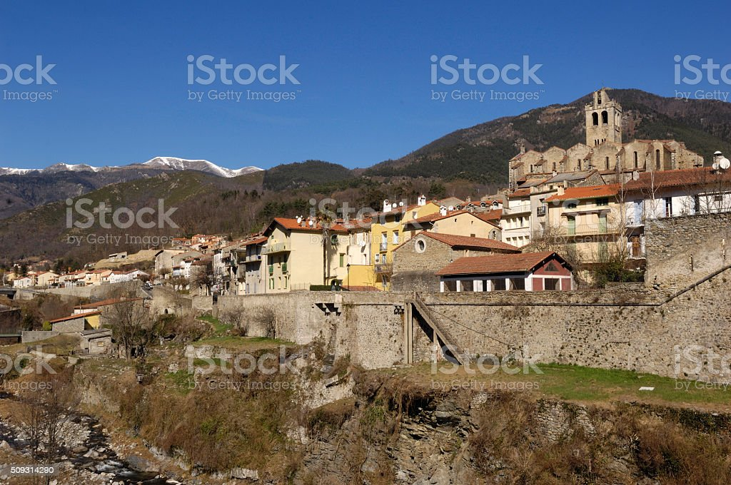 village of Prats de Mollo stock photo