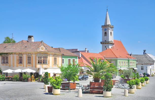 village of rust at lake neusiedlersee,burgenland,austria - burgenland stock-fotos und bilder