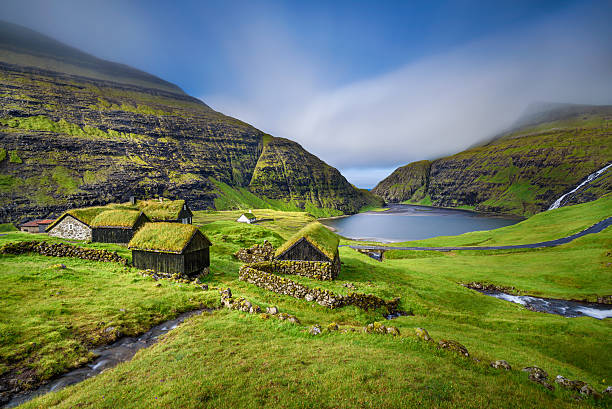 village of saksun, faroe islands, denmark - denmark stock photos and pictures