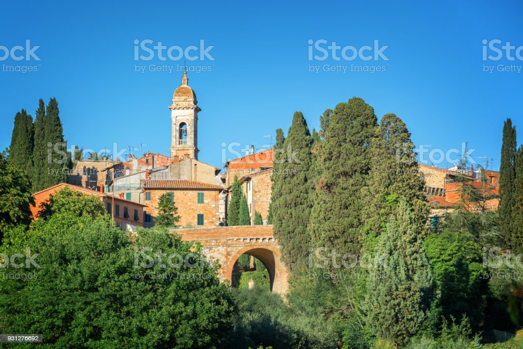Village of San Quirico d'Orcia, Tuscany, Italy stock photo
