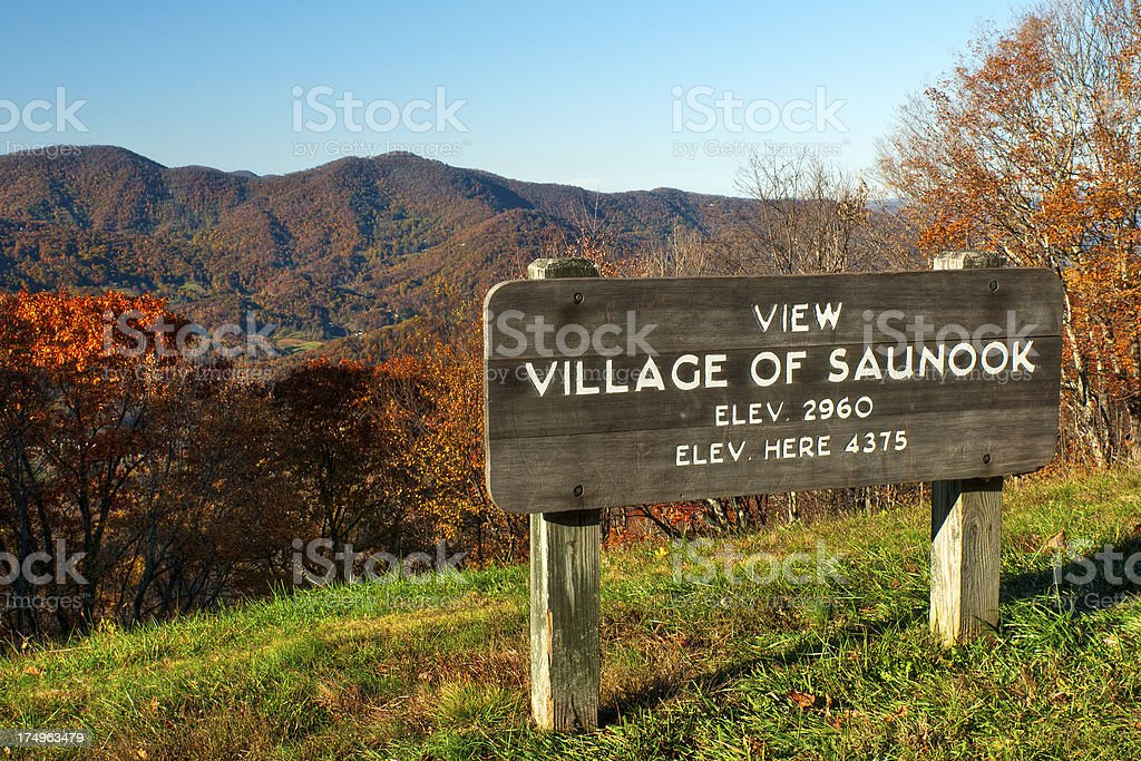 Village of Saunook Overlook, Blue Ridge Parkway, North Carolina, USA royalty-free stock photo