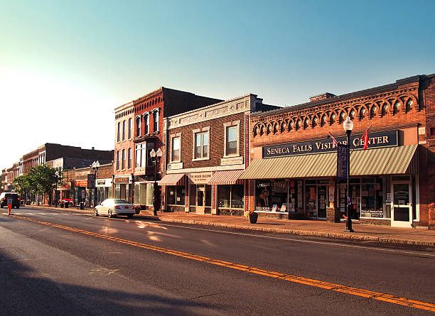 village of Seneca Falls village of Seneca Falls before sundown americana stock pictures, royalty-free photos & images
