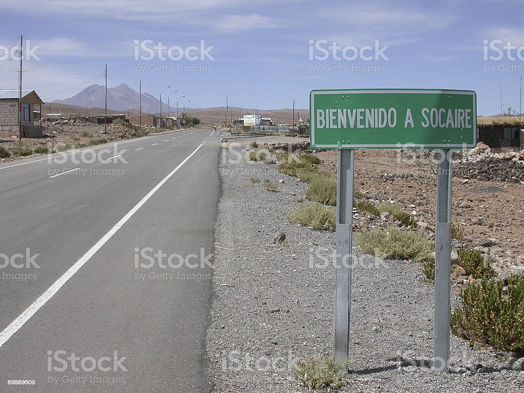 Village of Socaire Roadsign Chile royalty-free stock photo