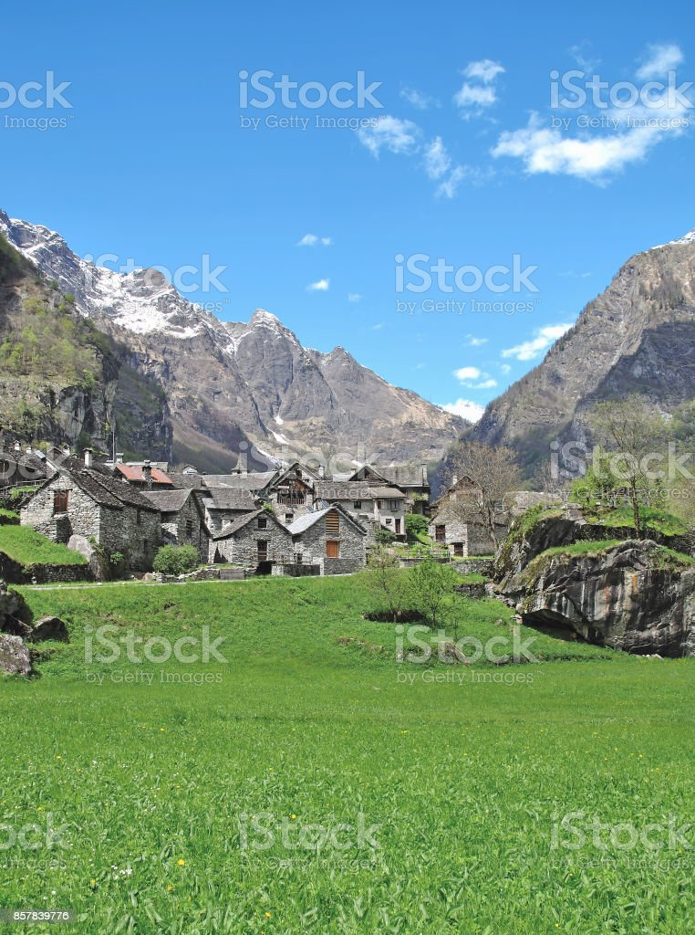 Village of Sonlerto,Val Bavona,Ticino Canton,Switzerland stock photo