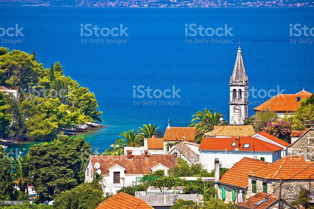 Village of Splitska architecture and seafront stock photo