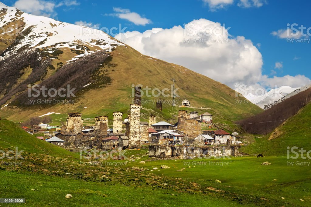 Village of Ushguli in Svaneti region of Georgia, UNESCO world heritage site, popular travel destination stock photo
