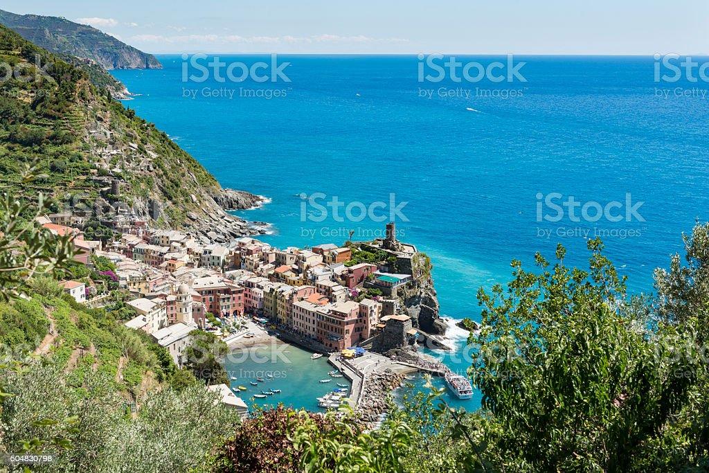 Village of Vernazza in Cinque Terre, Italy stock photo