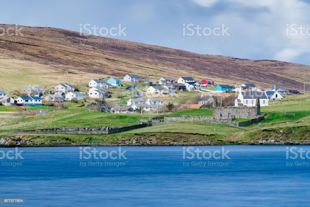 Village of Voe, Shetland Islands of Scotland stock photo