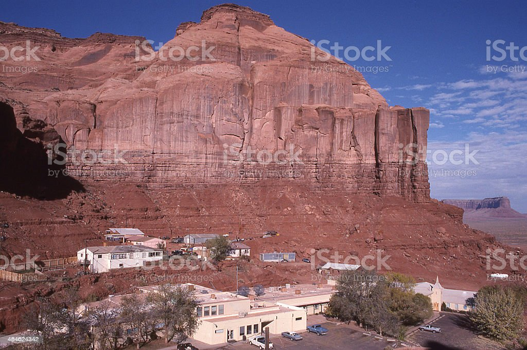 Village of Window Rock Monument Valley Utah and Sandstone Cliffs stock photo
