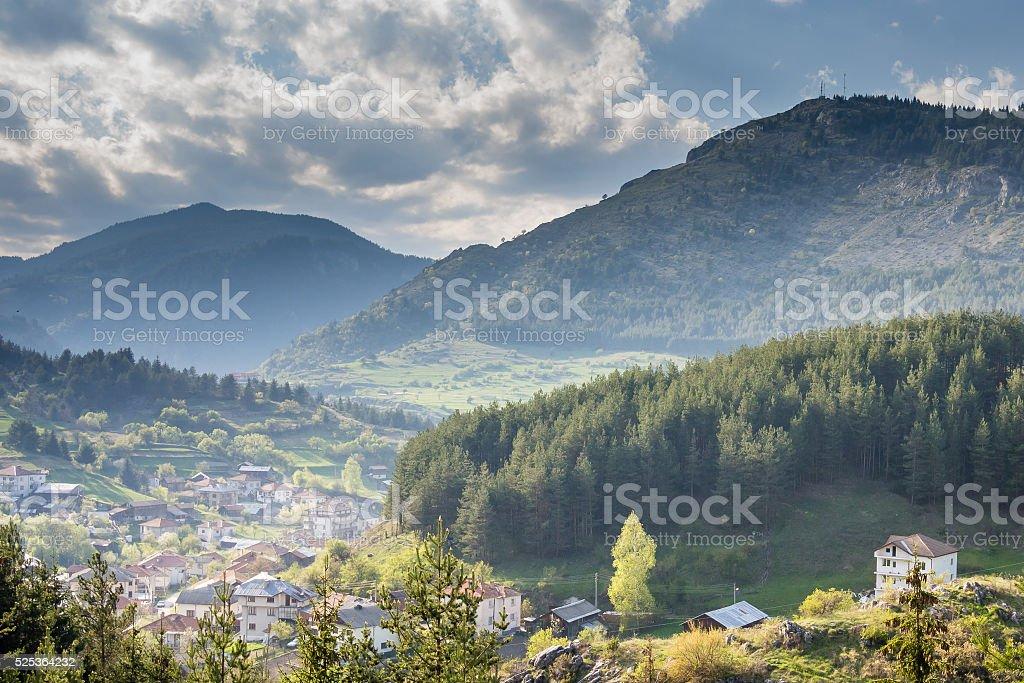 Village of Yagodina. Rhodope mountains, Bulgaria. stock photo
