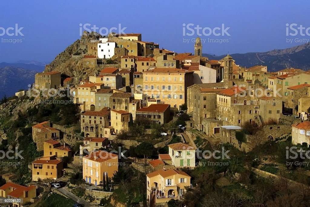Village on a hill in Corsica island in the Mediterranean stock photo