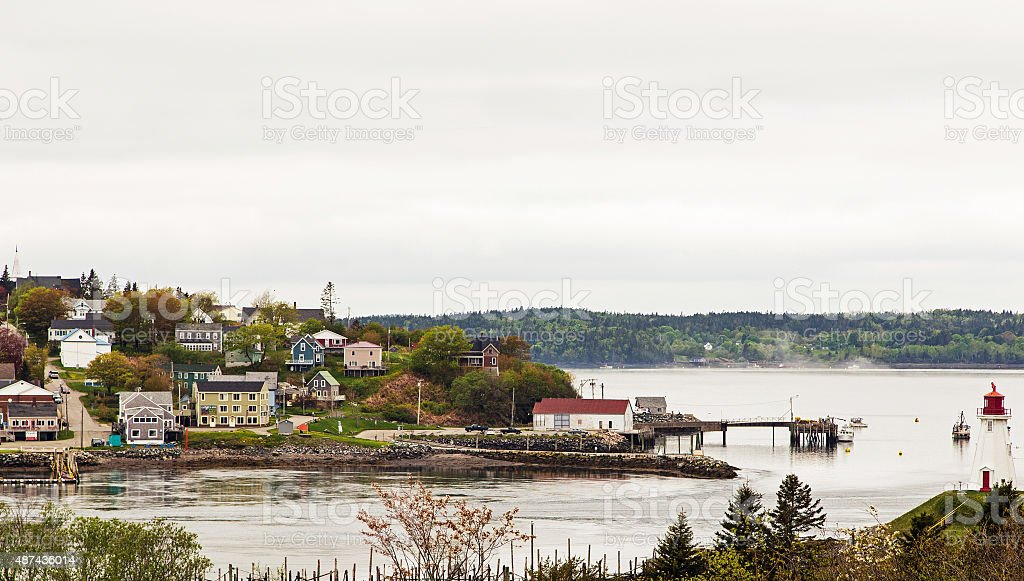 Village on Border of USA and Canada stock photo