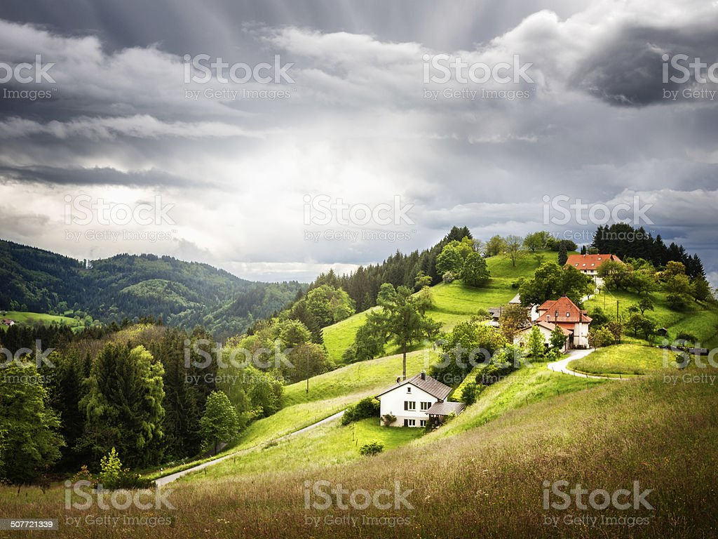 Village on hill stock photo