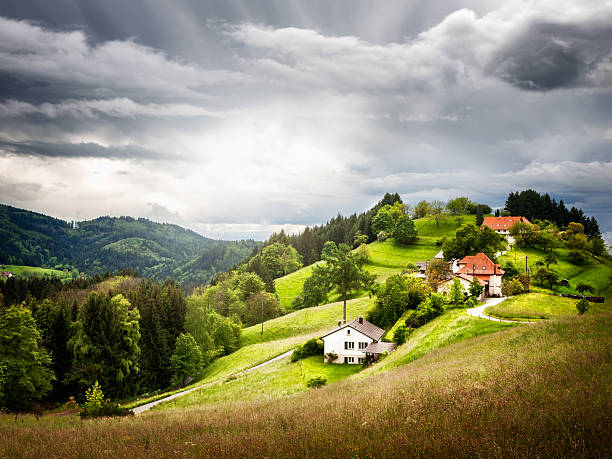 Village on hill stock photo