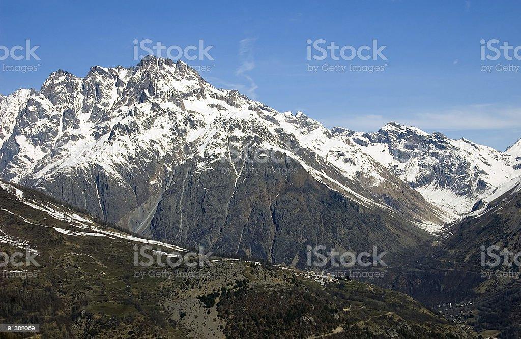Village on hillside stock photo