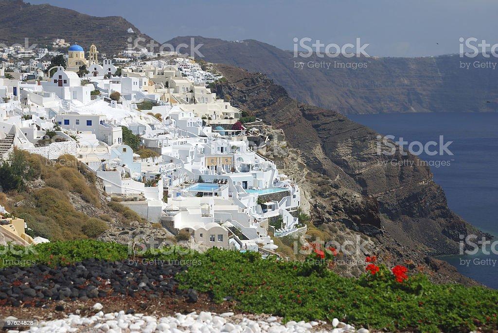 Village on Santorini island royaltyfri bildbanksbilder