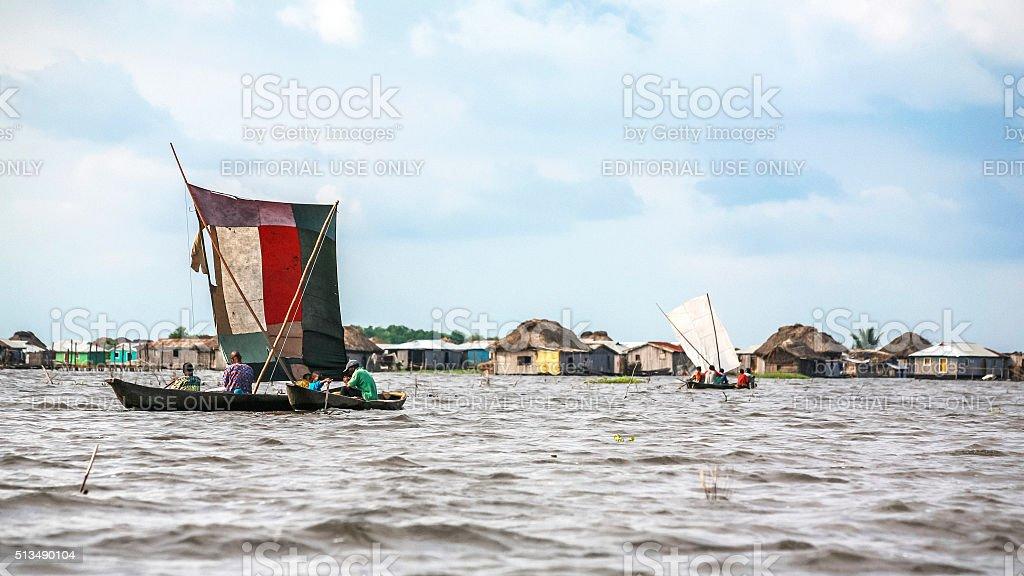 Village on the water. Ganvie, Benin. stock photo