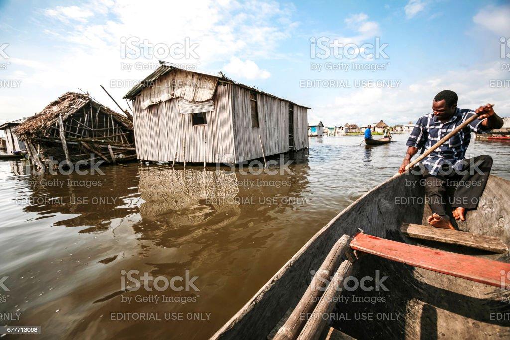 Village on the water - Ganvie, Benin. stock photo