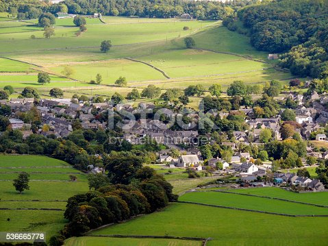 The photo shows part of Castleton, a beautiful English village in the High Peak District.