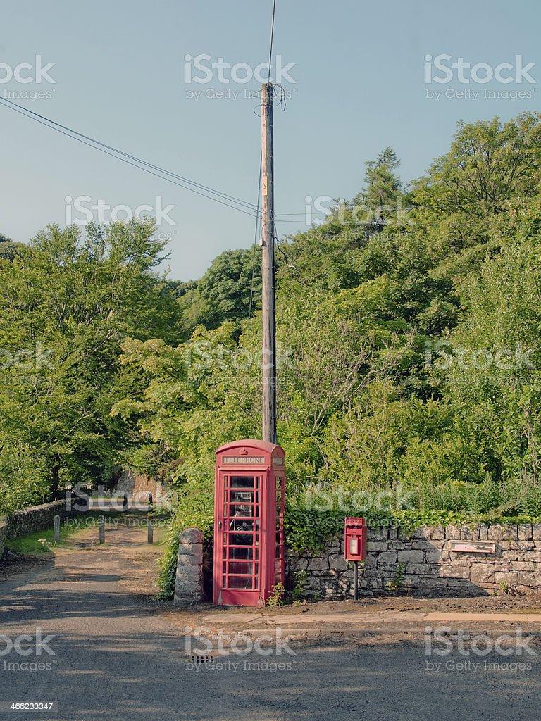 Village Post and Phone Box stock photo