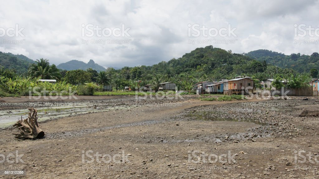 Village Ribeira Afonso, Sao Tome and Principe, Africa royalty-free stock photo