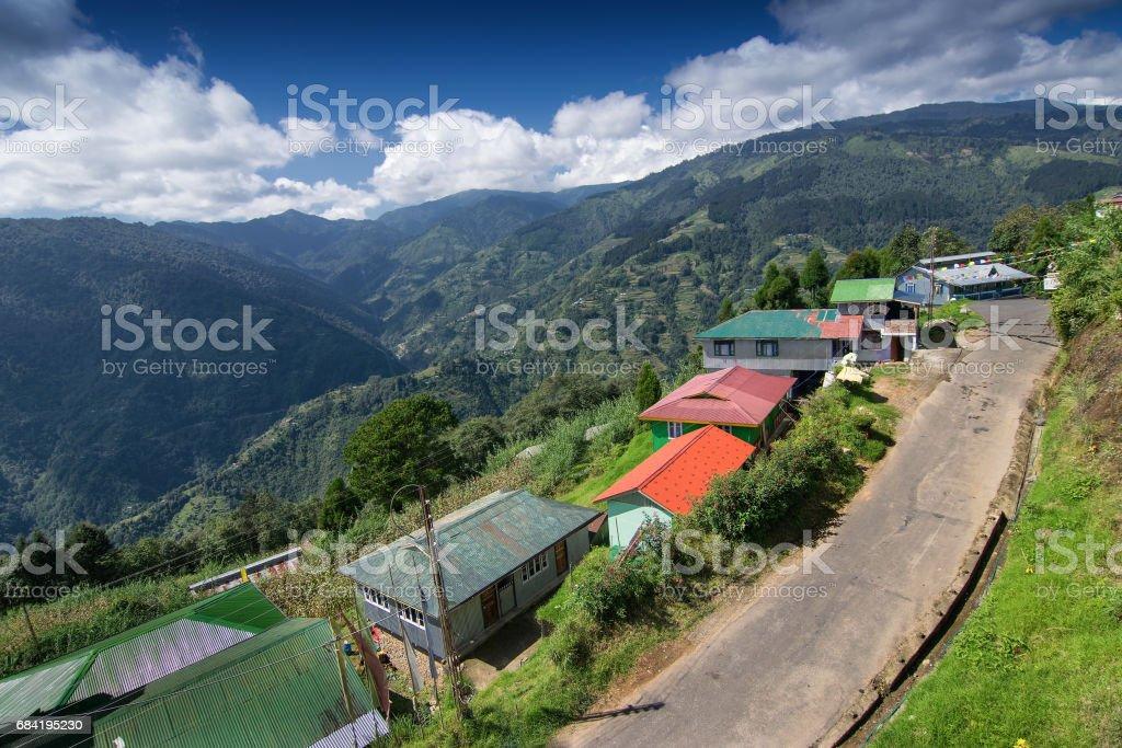 Village Road, Okhrey, Sikkim, India royalty-free stock photo