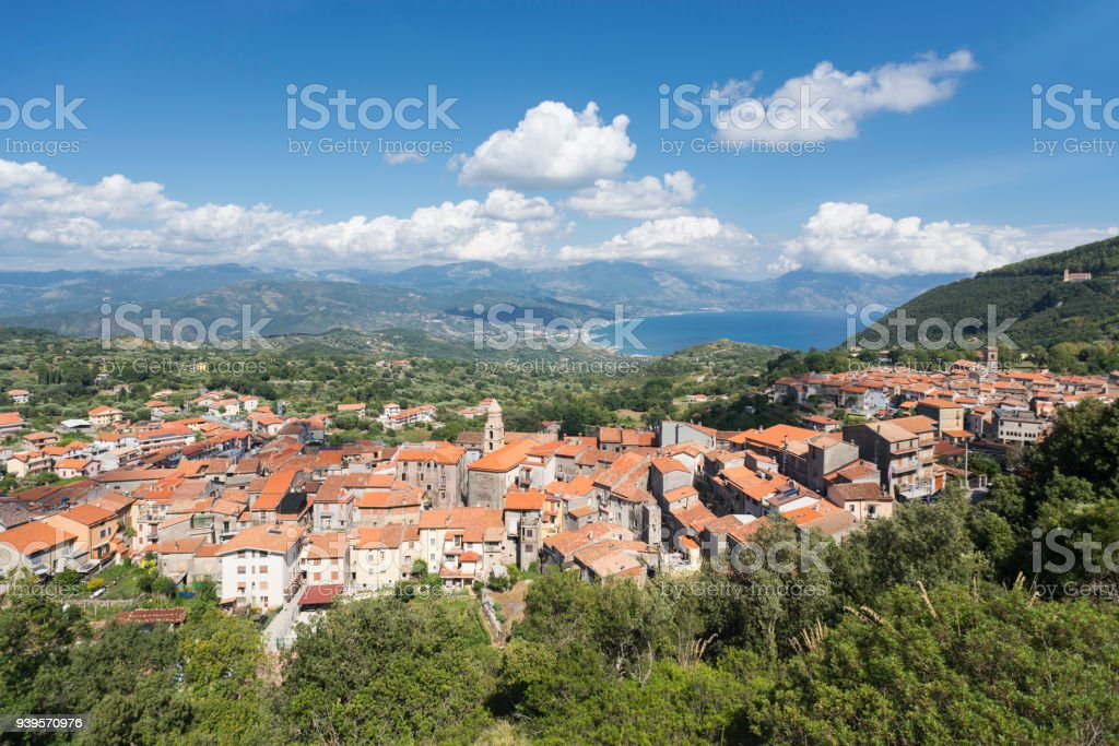 Village San Giovanni a Piro with panorama view to mountains and Gulf of Policastro at the coast of Cilento in southern Italy stock photo
