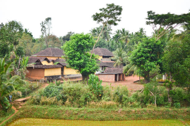 village scene of rural india - village stock photos and pictures