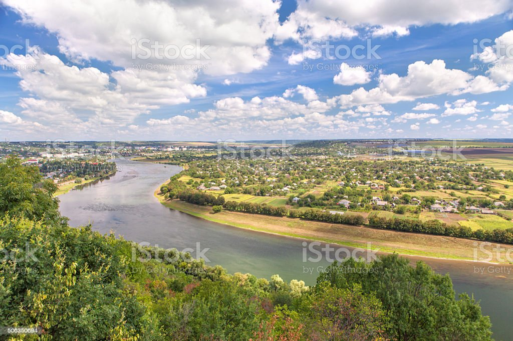 village settlement on the riverside stock photo