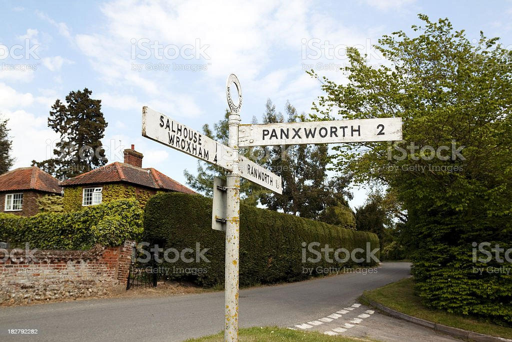 Village signpost in the Norfolk Broads royalty-free stock photo