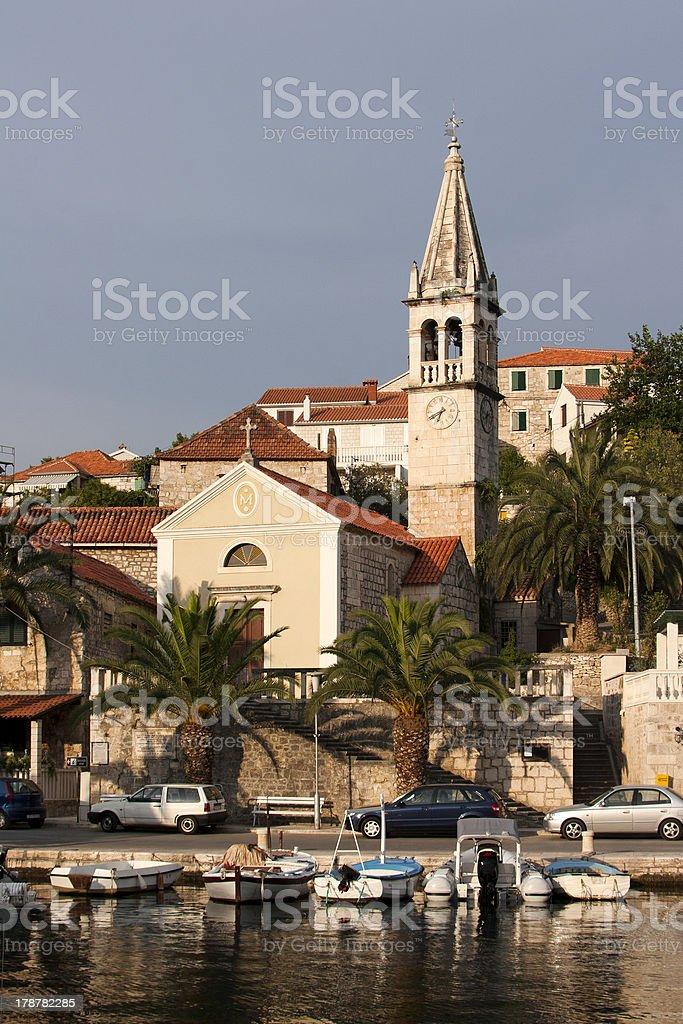 Village Splitska on Brac island stock photo