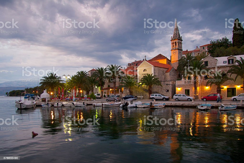Village Splitska on island Brac in Croatia stock photo