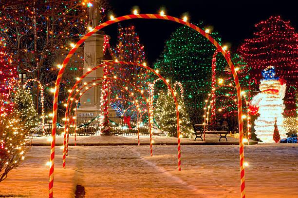 Village square Christmas stock photo