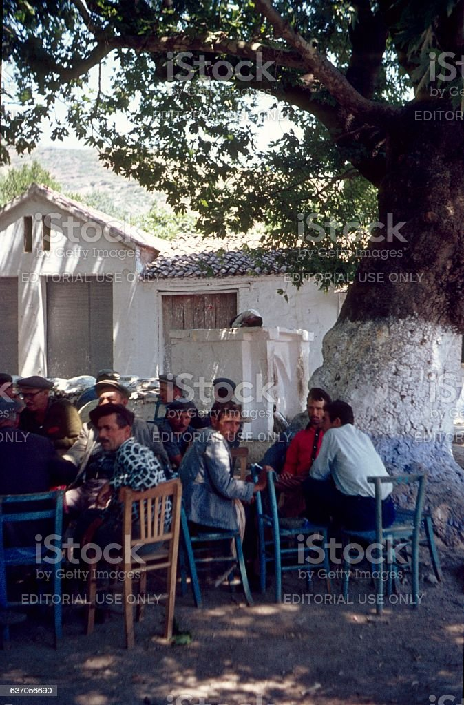 Village square in Iskele, Cyprus stock photo