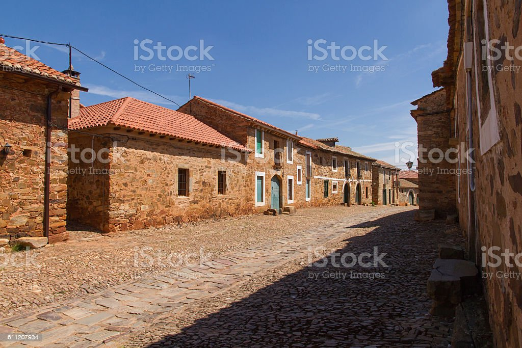 Village Street Castrillo de Los Polvazares - Calle del Pueblo stock photo