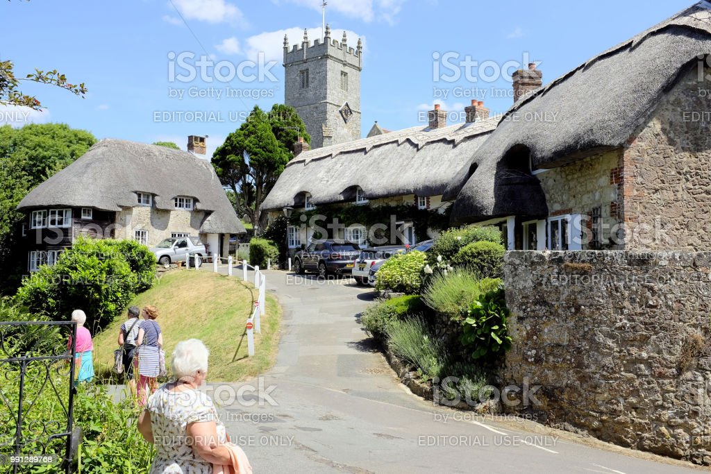Village thatch, Godshill, Isle of Wight, UK. stock photo