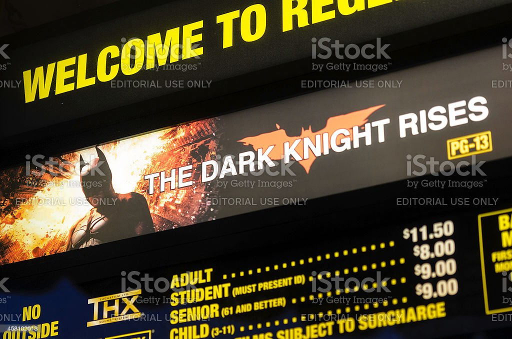 Village Theater Box Office: 'The Dark Knight Rises'  Movie Poster stock photo