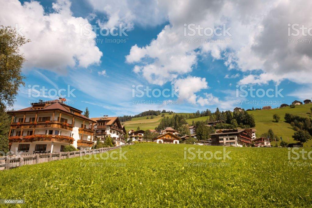 Village Val Gardena South Tirol Dolomiten mountain stock photo