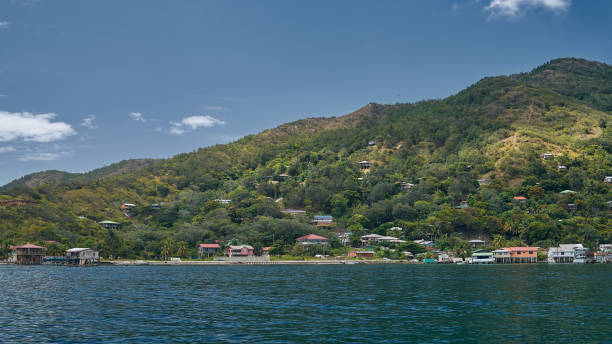 Village view on Guanaja island stock photo