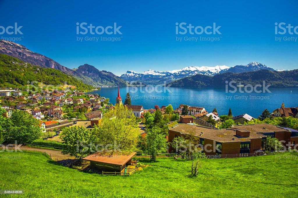 Village Weggis, lake Lucerne and Pilatus mountain from Weggis stock photo